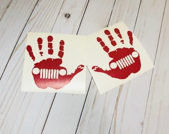 Hand Print Jeep Decals