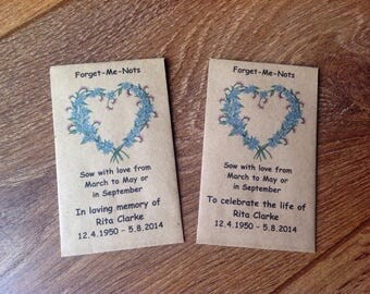 10 Personalised Forget Me Not Seed Favours Funeral Memorial In Loving Memory To Celebrate the Life of