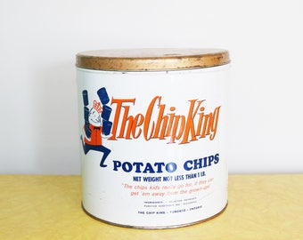 Large The Chip King Potato Chips Tin