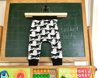 Baby legging with dachshunds, cotton baby pants black white, all sizes available