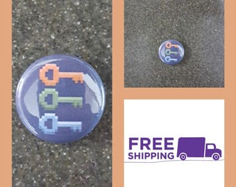 "1"" Ready Player One Keys Button Pin or Magnet, FREE SHIPPING & Coupon Codes"