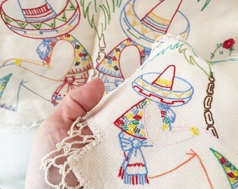 3 Vintage Mexican hand embroidered doilies - doiley - doily - embroidery - craft - dressing table set - sombrero mexico cactus #0162