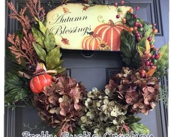 Fall wreath- Harvest wreath- Autumn wreath- Thanksgiving wreath- 18 inch grapevine wreath- Front door wreath- Door decor- Holiday wreath