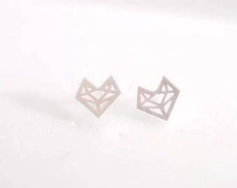 24/7 Jewelry Collection Origami Fox earrings-studs earrings-brushed-Minimalist-Silver-Gold-rose gold