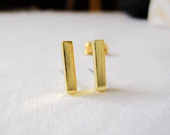 24/7 Jewelry Collection Bar earrings-studs earrings-Bar-brushed-Minimalist-Silver-Gold-rose gold