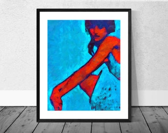 Figure in Blue, Portrait, Portraiture, Figurative Art Print in 12 x 10 inch Mount