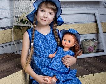 "A set of identical dresses for girls and Dolls ""Natasha"""