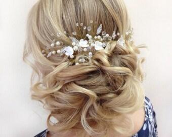 Bridal hair comb Pearl hair comb  Bridal headpiece  Bridesmaid Hair Comb Flower Hair Comb Floral Hairpiece Floral Headpiece Flower Headband