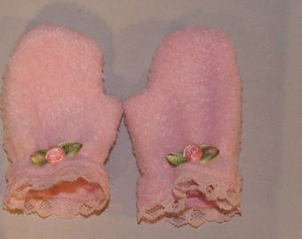 Pink Fleece Mittens for 18'' Dolls.  (Mittens only, American Girl doll and clothes are not included) Handmade in the USA.