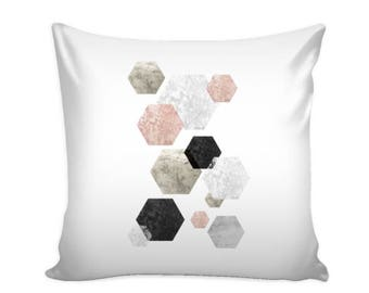 Rose Hex Pillow Cover 16 X 16