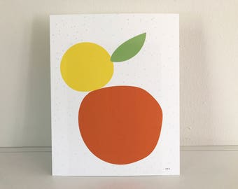 "Abstract citrus print 10""x8"""