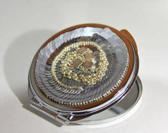 Mirror silver glitter handbag charm