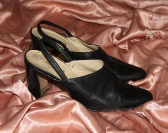 Vintage 90's Genuine Leather Black Heeled Mules