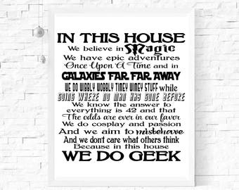 In This House We Do Geek Quote   A4 Print   A3 Print   Wall Art   Typography   Film And Book Quotes   Geek Gift   Wall Decor  