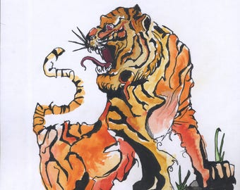 Angry Tiger - Original Drawing by Alexandre Conversin