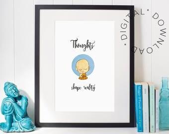 Yoga poster, Mindfulness, Mindfulness print, Meditation art, Zen decoration, Buddha wall art , Yoga studio decor, Meditation printable