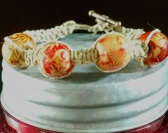 Macrame Bracelet Wood Bead Bracelet Bohemian Bracelet Hippie Bracelet Natural Hemp Bracelet