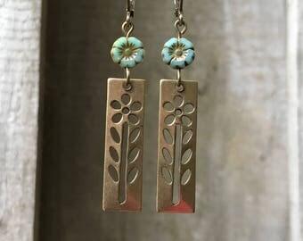 Bronze Earrings Bohemian Earrings Czech Glass Earrings Dangle Earrings Turquoise Flower Earrings Coin Earrings Boho Jewelry Gift for her