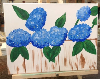 Blue hydrangea on a fence