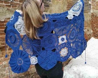 """Shawl-shawls (tippet) of wool """"Indigo"""""""