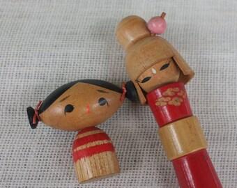cute Japanese Kokeshi  Carving and paint wood Doll Wood Doll  Koeshi Doll Japanese Vintage Doll Wood Doll Japanese dolls Home decor Set of 2