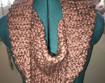Pale Pink and brown knitted infinity scarf