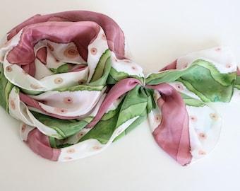 Silk Scarves, 100% Crepe De Chine Silk Scarves, Handmade Silk Scarves, Hand painted Silk Scarves, Long Scarves
