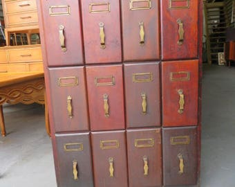 Antique Vertical Rare Industrial Wood Sewing Pattern Vertical File Drawer Storage Filing Cabinet on Wheels (NOT Free Shipping PICK UP Only)