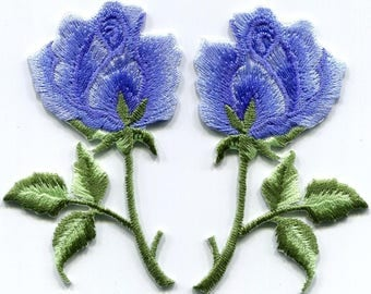Royal blue roses pair flowers embroidered appliques iron-on patches