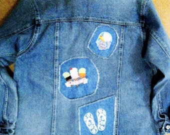 """Ladies Size 2X A/E Denim Jacket """"Summer Fun"""" Machine Embroidered Reverse Applique. Free Shipping!"""