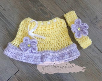 Photo prop, crocheted newborn skirt and head band, fits up to 6 months. 4 colors available.