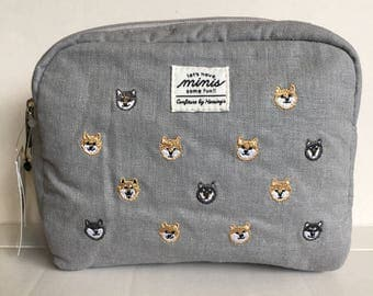Shiba Inu Embroidery Cosmetic Pouch