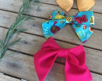 Sailor Bows set of 3 • fabricbows • magenta • mustard yellow • blue green print •