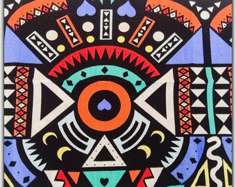 48X48cm aztek pattern cotton fabric coupon