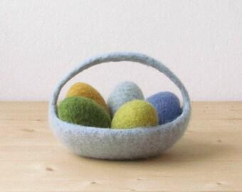 Felted basket / Easter basket / Easter decoration / Ring bearer / wedding pillow / Light grey green / CHOOSE YOUR COLOR