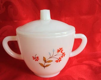 Milkglass sugar bowl with lid, mint condition, sweet blue and red modern floral