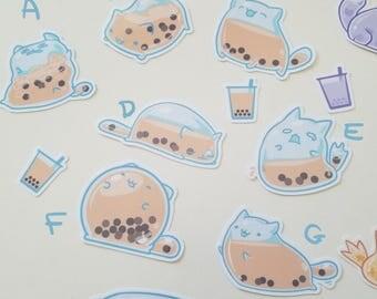 "Bobacat Stickers - Boba Milk tea kitty vinyl sticker 2""(average)"