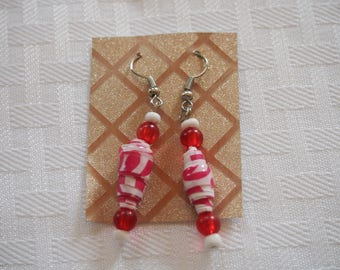 Paper Bead Earrings, Pink/White
