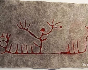 Shaman on the boat, handcrafted wall decoration, felted of wool, inspired by petroglyph found in Sweden