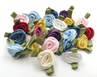 Assorted Mini Ribbon Roses. Satin Roses. Sewing. Crafting. Scrap Booking. Card Making. Roses Applique . Miniature Roses