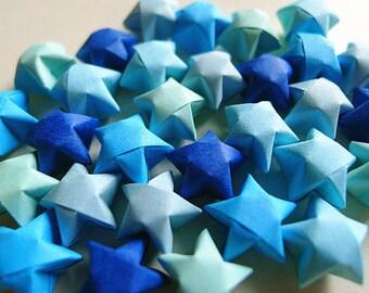 Origami Lucky Stars - Blue Mixed Wishing Stars,Embellishment,Gift Enclosure,Home Decor