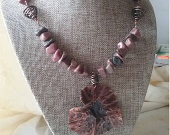 Copper necklace, handmade jewelry, one of a kind, hade forged copper