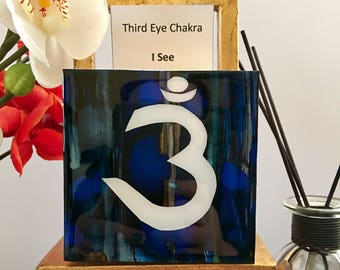 "DvonG #17: Original Handmade Alcohol Ink Painting ""I See"" Third Eye Chakra"