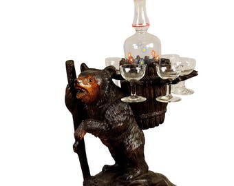 handcarved wood bear liqueur stand swiss 1920