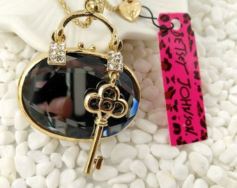 Betsey Johnson Crystal Purse and Key Pendant Necklace