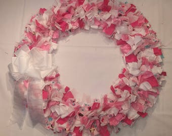 Pink and White Cloth Wreath