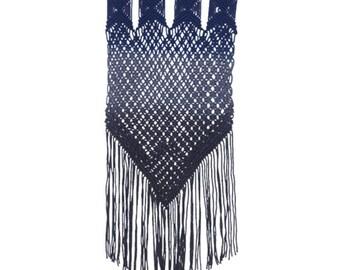Mila Navy Blue Ombre Macrame Weave