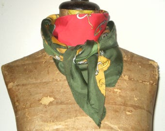 Gucci vintage silk scarf; Gucci equestrian scarf.