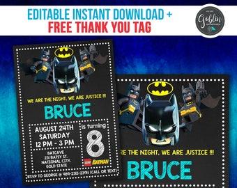 Lego Batman Invitation, Lego Birthday Invitation, Batman Birthday, Lego Batman Party, Lego Batman Invite, Lego Batman Printable, Lego Batman