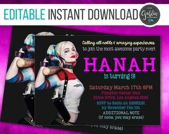 Harley Quinn, Harley invite, Harley, Harley Quinn invitation, Instant Download, Suicide squad invite, suicide squad party, Suicide Squad